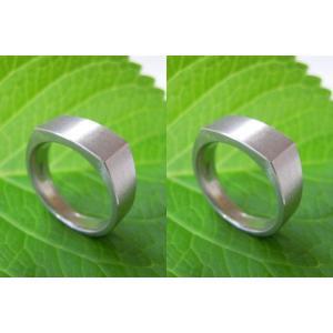 プラチナ結婚指輪(鍛造&彫金)荒仕上げ 昔の手法で造った斬新な横長角印台リング|kouki