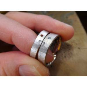 プラチナ結婚指輪(鍛造&彫金)光沢&マット 平甲丸に和彫り 手彫り桜&桜吹雪|kouki