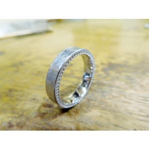 プラチナ結婚指輪(鍛造&彫金)幅広&肉厚平打ちリング マット打ち出し&側面にミル打ち|kouki|02