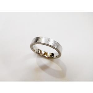 プラチナ結婚指輪(鍛造&彫金)幅広&肉厚平打ちリング マット打ち出し&側面にミル打ち|kouki|06
