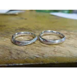 プラチナ結婚指輪(鍛造&彫金)メビウスリング 女性にはダイヤがエタニティ風に入る|kouki|02