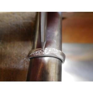 プラチナ結婚指輪(鍛造&彫金)光沢 メビウスリング ダイヤがグラデーションで輝く kouki 05