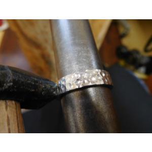 プラチナ結婚指輪(鍛造&彫金)光沢 平打ちリングに細かい槌目 男性5.5mm 女性4mm|kouki|04