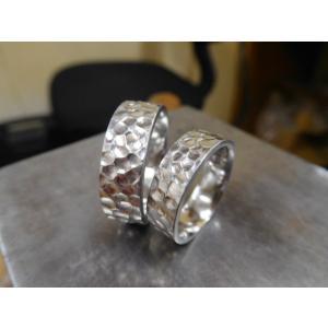 プラチナ 結婚指輪【本物の鍛造】極太の平打ちに艶消しの深い槌目が凄い! 男性7ミリ幅 女性6ミリ幅|kouki|05