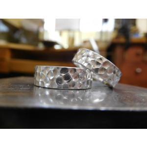 プラチナ 結婚指輪【本物の鍛造】極太の平打ちに艶消しの深い槌目が凄い! 男性7ミリ幅 女性6ミリ幅|kouki|06