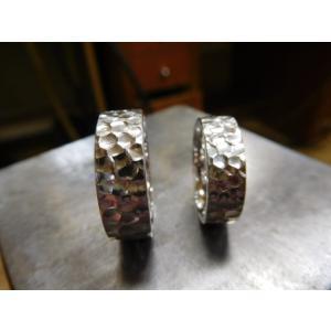 プラチナ結婚指輪(鍛造&彫金)光沢 極太の平打ちリングに深い槌目 男性7mm 女性6mm|kouki|05