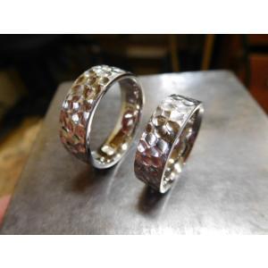 プラチナ結婚指輪(鍛造&彫金)光沢 極太の平打ちリングに深い槌目 男性7mm 女性6mm|kouki|06