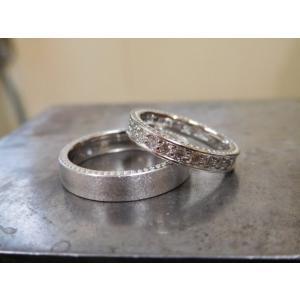 プラチナ結婚指輪(鍛造&彫金)マット&ミル 女性はフルエタニティリング 男性は平打ち|kouki