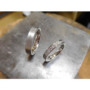プラチナ結婚指輪(鍛造&彫金)マット&ミル 女性はフルエタニティリング 男性は平打ち|kouki|02