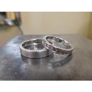 プラチナ結婚指輪(鍛造&彫金)マット&ミル 女性はフルエタニティリング 男性は平打ち|kouki|03