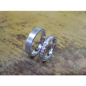 プラチナ結婚指輪(鍛造&彫金)マット&ミル 女性はフルエタニティリング 男性は平打ち|kouki|04