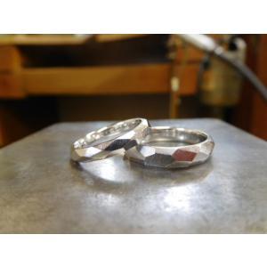 プラチナ結婚指輪(鍛造&彫金)擦り出しでクリスタルカット 男性4mm 女性3mm|kouki|04