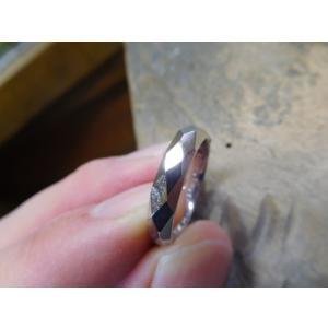プラチナ結婚指輪(鍛造&彫金)擦り出しでクリスタルカット 男性4mm 女性3mm|kouki|05