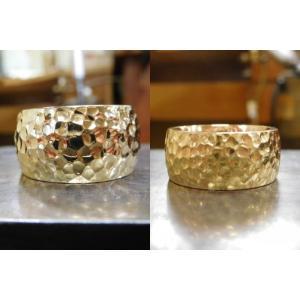 ゴールド結婚指輪(鍛造&彫金)光沢 鬼極太の深い槌目リング 男性12mm 女性10mm|kouki