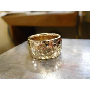 ゴールド結婚指輪(鍛造&彫金)光沢 鬼極太の深い槌目リング 男性12mm 女性10mm|kouki|02
