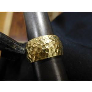 ゴールド結婚指輪(鍛造&彫金)光沢 鬼極太の深い槌目リング 男性12mm 女性10mm|kouki|14