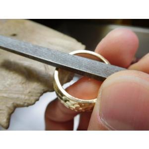 ゴールド結婚指輪(鍛造&彫金)光沢 鬼極太の深い槌目リング 男性12mm 女性10mm|kouki|16