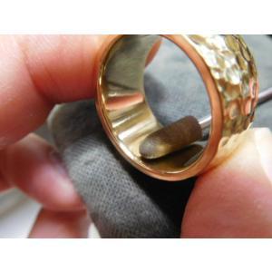 ゴールド結婚指輪(鍛造&彫金)光沢 鬼極太の深い槌目リング 男性12mm 女性10mm|kouki|18