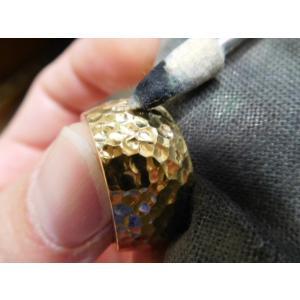 ゴールド結婚指輪(鍛造&彫金)光沢 鬼極太の深い槌目リング 男性12mm 女性10mm|kouki|19