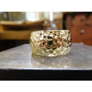 ゴールド結婚指輪(鍛造&彫金)光沢 鬼極太の深い槌目リング 男性12mm 女性10mm|kouki|21