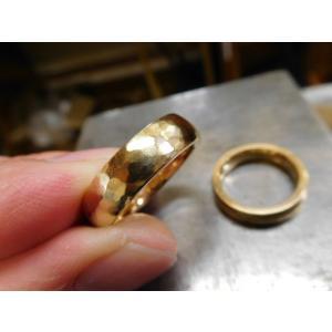 ゴールド結婚指輪(鍛造&彫金)鎚起の叩き出し 幅広甲丸リング 男性6.5mm 女性4.5mm|kouki|06