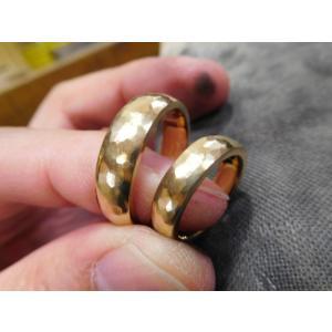 ゴールド結婚指輪(鍛造&彫金)鎚起の叩き出し 幅広甲丸リング 男性6.5mm 女性4.5mm|kouki|10