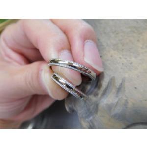 プラチナ結婚指輪(鍛造&彫金)甲丸リングの両フチに極小ミル打ち リング幅2.6ミリ|kouki|03