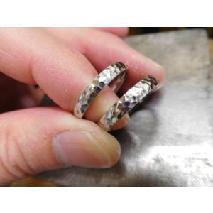プラチナ 結婚指輪【本物の鍛造】甲丸に打ち込んだ槌目が美しい! 男性用3.5ミリ幅 女性用3ミリ幅 kouki