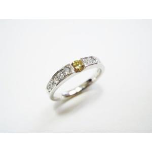 鍛造・手作りエンゲージリング 婚約指輪 0.2ctカラーダイヤモンド プラチナ 一文字デザイン|kouki