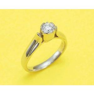 鍛造・手作りエンゲージリング 婚約指輪 0.3ctダイヤモンド チューリップ|kouki