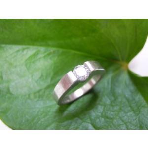 鍛造・手作りエンゲージリング 婚約指輪 0.3ctダイヤモンド シンプルな平打ち(荒仕上げ)|kouki