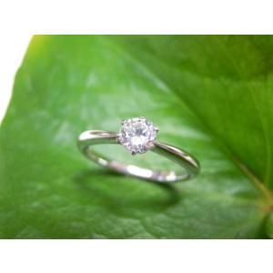 鍛造・手作りエンゲージリング 婚約指輪 0.3ctダイヤモンド 6本爪&シンプル極細リング |kouki
