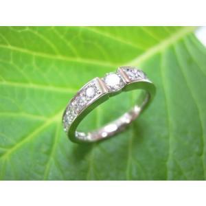 鍛造・手作りエンゲージリング 婚約指輪 0.2ctダイヤモンド プラチナとメレダイヤで作った豪華な一文字 |kouki
