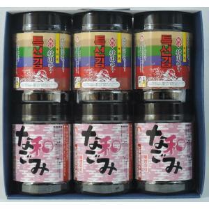 特選味付韓国のり&味付けのり なごみ 卓上タイプ 各3本 6本詰【贈答用】|koumi-norishop
