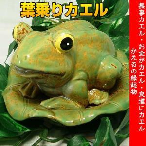 葉乗りカエル 工芸品 焼き物 陶器 インテリア 置物 ガーデニング|kouyuu