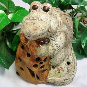 和に輪に(ワニ)くん 工芸品 焼き物 陶器 キャンドルホルダー セール|kouyuu