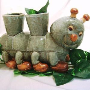 多足多福(いもむし)くん 工芸品 焼き物 陶器 植木鉢カバー ガーデニング|kouyuu