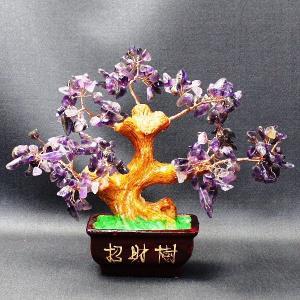 招財樹 アメジスト 風水 開運 グッズ インテリア 置物 紫水晶 天然石 お金がたまる木|kouyuu