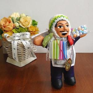 エケコ人形 エケッコ人形 ブルー 風水古銭付 ペルー産 エケッコ人形 仰天ニュース 幸せを呼ぶ 置物 飾り物 癒し 金運|kouyuu