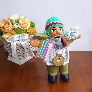 エケコ人形 エケッコ人形 グリーン 風水古銭付 ペルー産 エケッコ人形 仰天ニュース 幸せを呼ぶ 置物 飾り物 癒し 金運|kouyuu