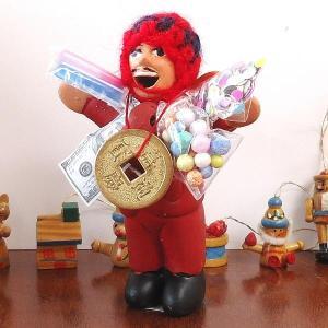 エケコ人形 エケッコ人形 レッド(小)風水古銭付 ペルー産 エケッコ人形 仰天ニュース 幸せを呼ぶ 置物 飾り物 癒し 金運|kouyuu