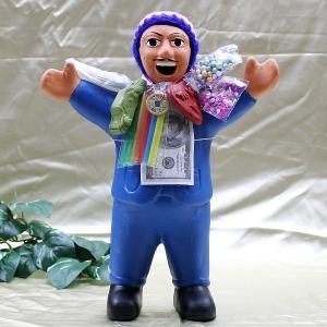 エケコ人形 エケッコ人形(特大)ブルー 風水古銭付 ペルー産 エケッコ人形 仰天ニュース 幸せを呼ぶ 置物 飾り物 癒し 金運|kouyuu