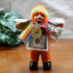 エケコ人形 エケッコ人形 オレンジ 風水古銭付 ペルー産 エケッコ人形 仰天ニュース 幸せを呼ぶ 置物 飾り物 癒し 金運|kouyuu