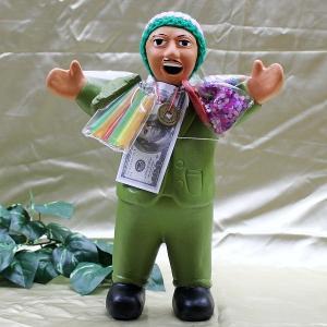 エケコ人形 エケッコ人形(特大)グリーン 風水古銭付 ペルー産 エケッコ人形 仰天ニュース 幸せを呼ぶ 置物 飾り物 癒し 金運|kouyuu