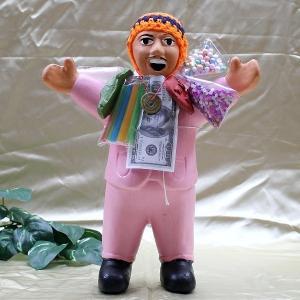 エケコ人形 エケッコ人形(特大)ピンク 風水古銭付 ペルー産 エケッコ人形 仰天ニュース 幸せを呼ぶ 置物 飾り物 癒し 金運|kouyuu
