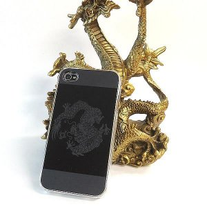 風水龍 アイフォンケース iphone4s/4 黒 単龍|kouyuu