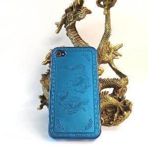 風水龍 アイフォンケース iphone4s/4 青 双龍|kouyuu