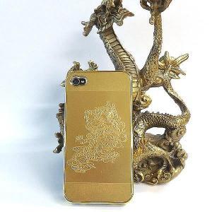 風水龍 アイフォンケース iphone4s/4 金 単龍|kouyuu