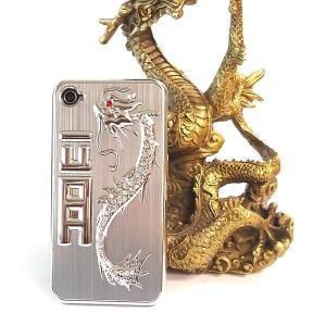 風水龍 アイフォンケース iphone4s/4 銀 銀龍|kouyuu