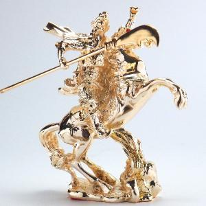 金彩 関羽 騎馬 商売の神様 風水 開運 グッズ インテリア 銅製 置物 kouyuu